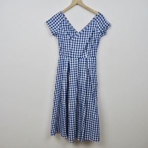 Vintage 1950's Dress Blue White Gingham Cotton Pla